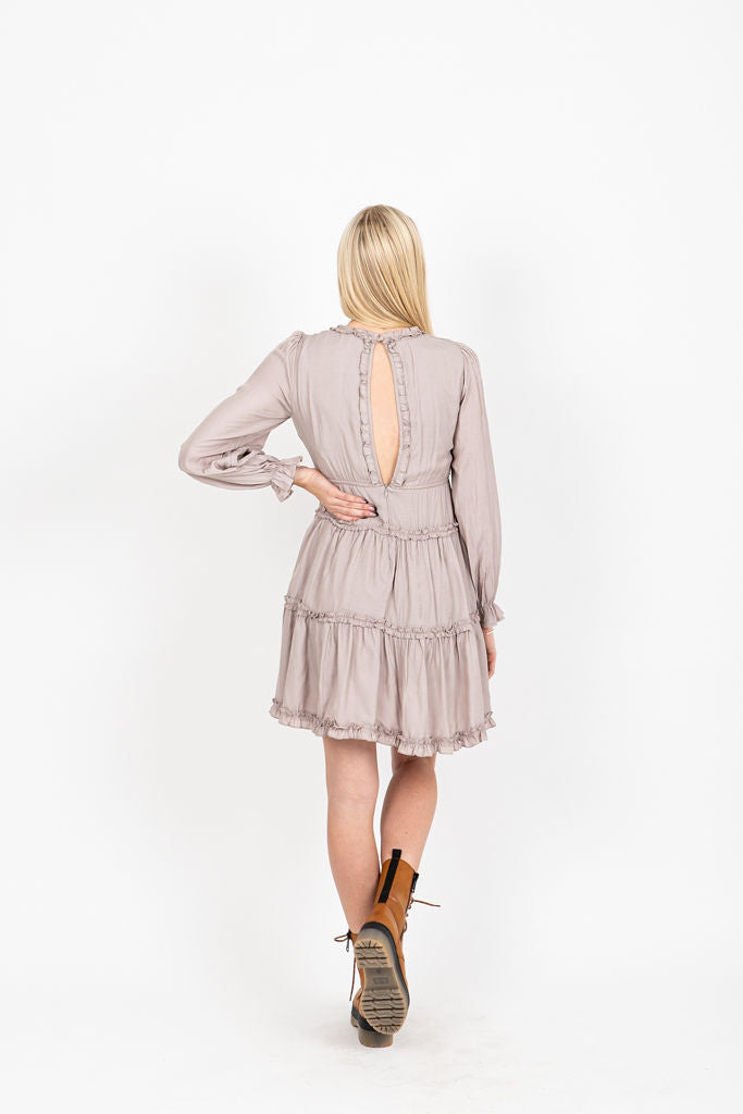 The Carvel Tiered Tunic Dress in Light Grey