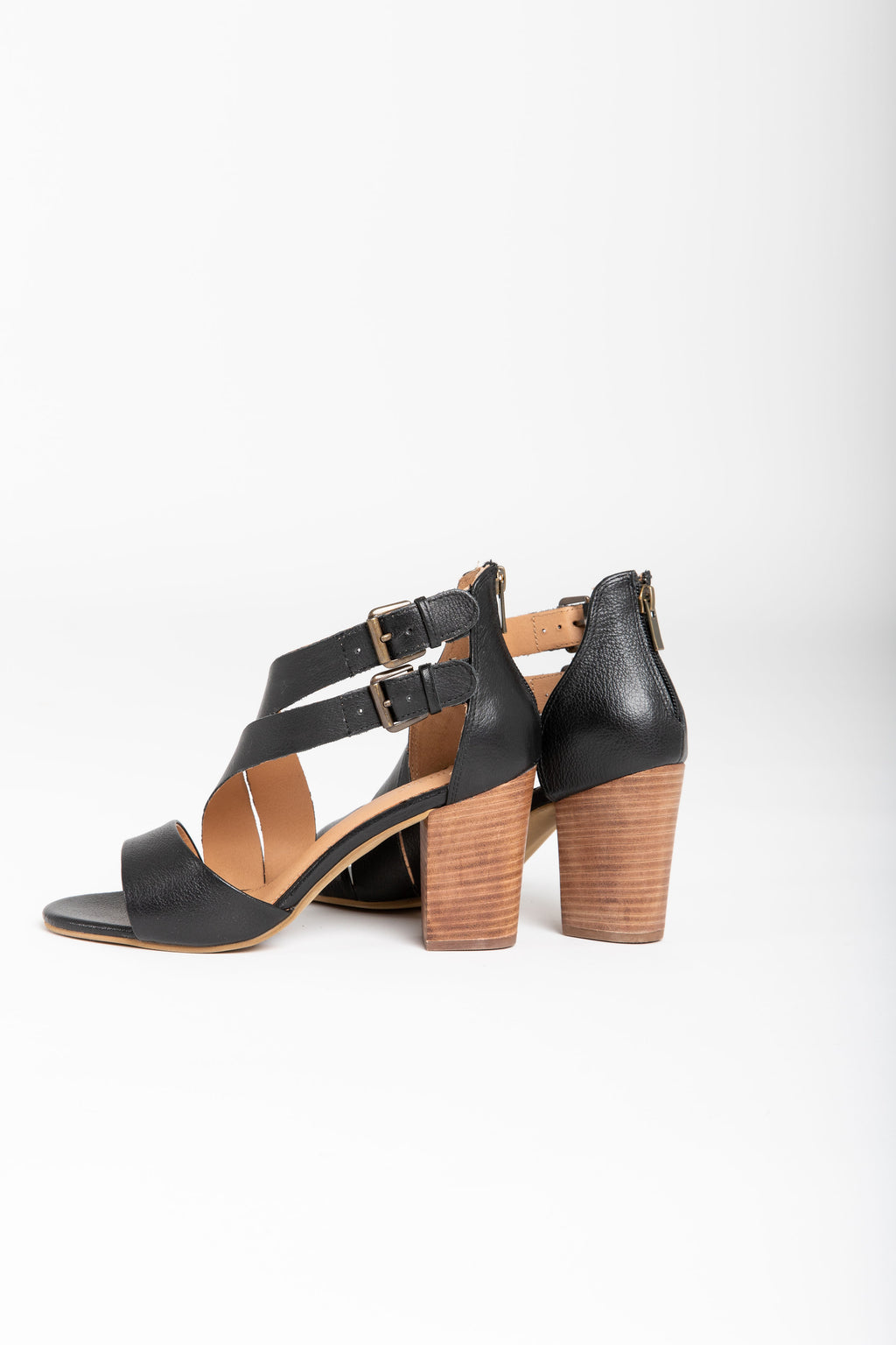 Crevo Footwear: Tallulah Heel Sandal in Black Leather