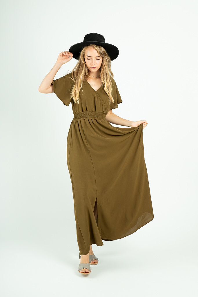 The Timberlake Maxi Dress in Moss