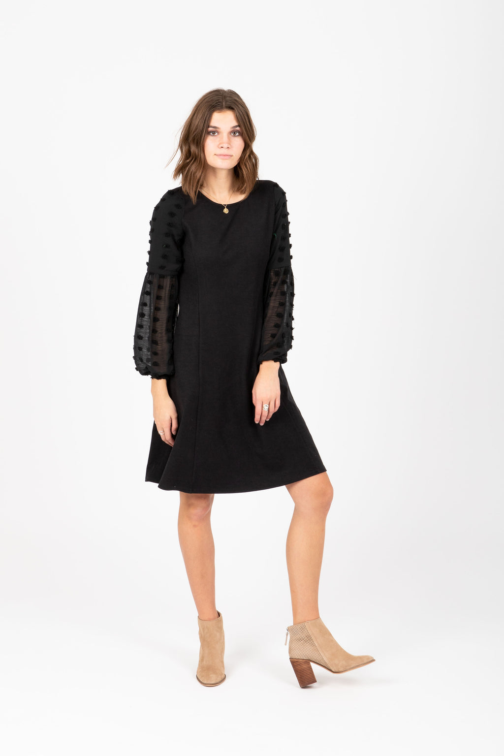 The Boyd Swiss Dot Shift Dress in Black, studio shoot; front view