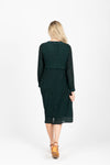 The Brisk Patterned Wrap Dress in Hunter Green, studio shoot; back view