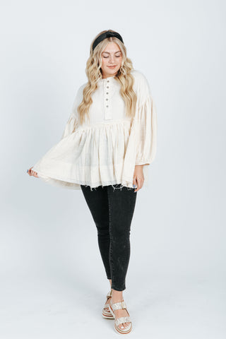 The Christie Smocked Ruffle Blouse in White