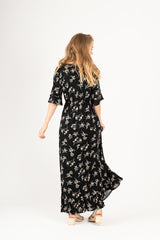 The Beckett Floral Dress in Black