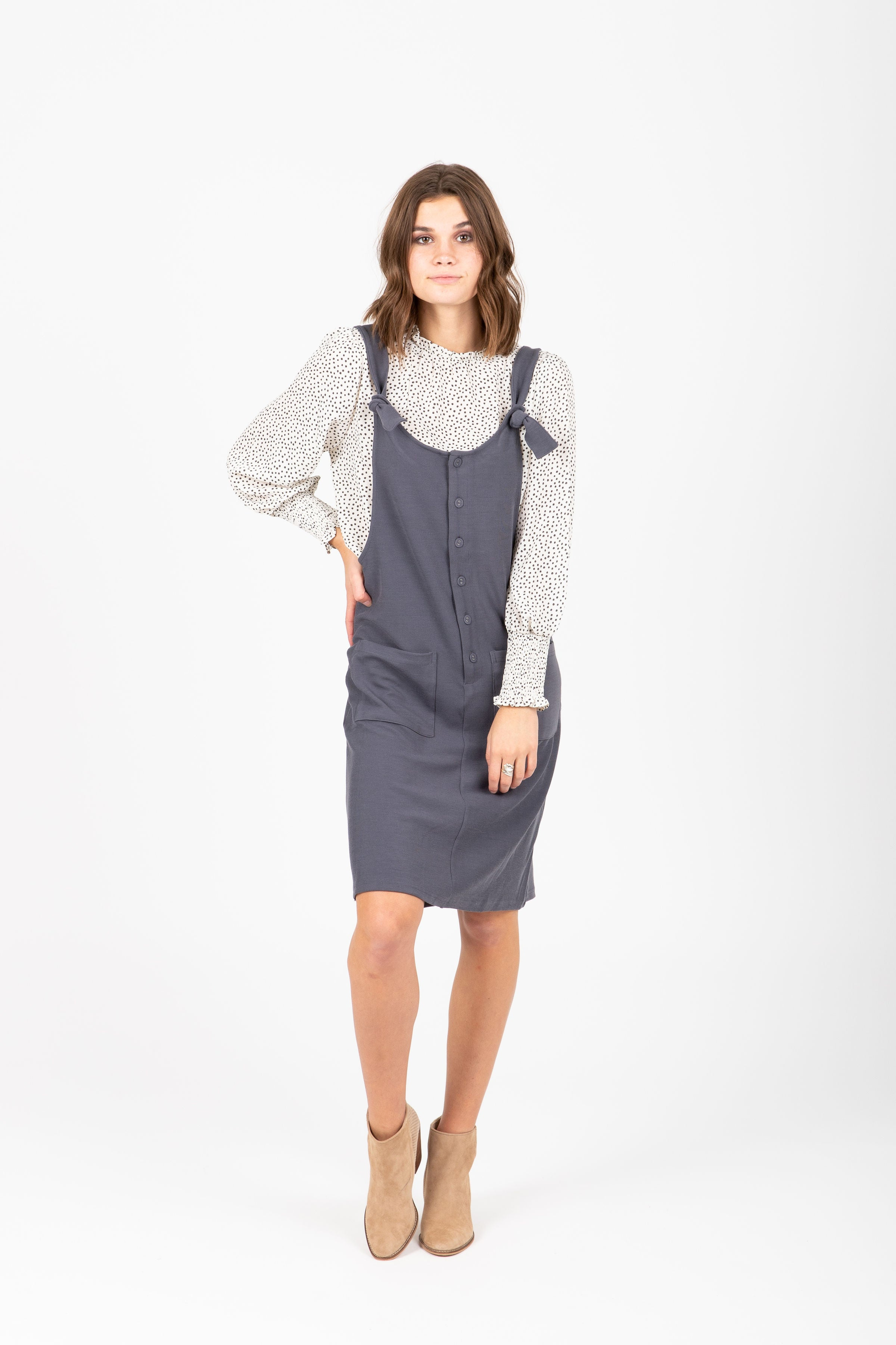 The Shevlin Jumper Dress in Grey