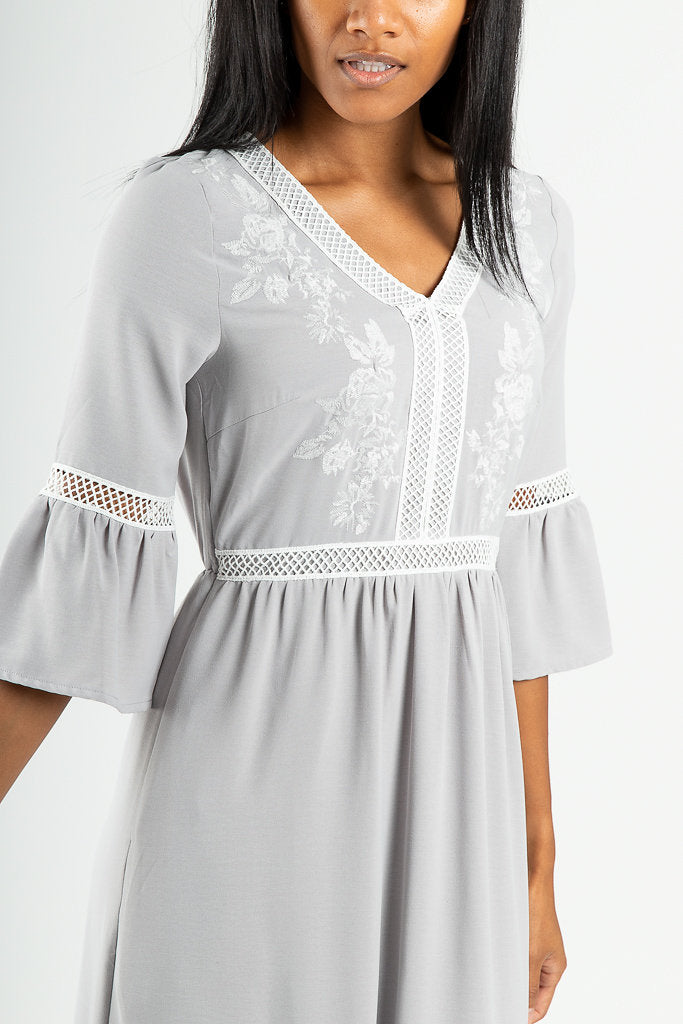 The Raleigh Embroidered Detail Dress in Light Grey