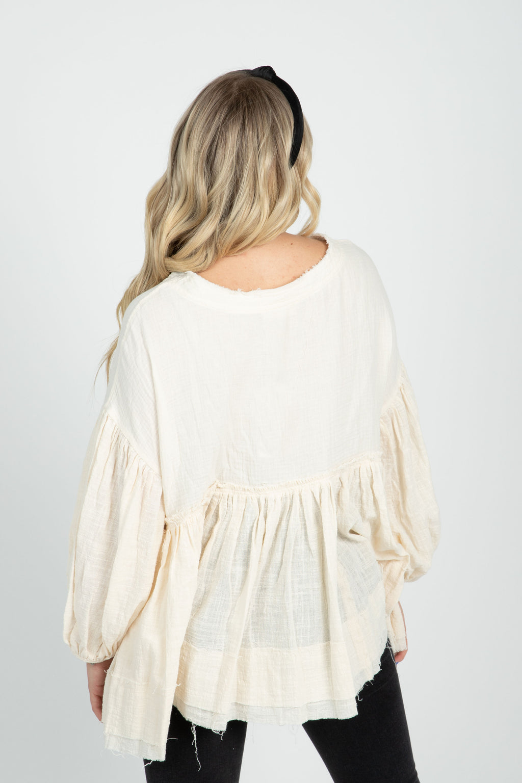 The Cynthia Long Sleeve Babydoll Blouse in Cream