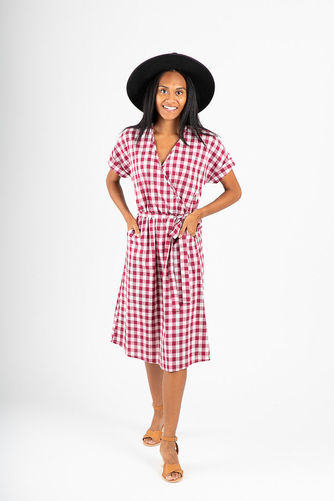 The Orion Check Dress in Burgundy