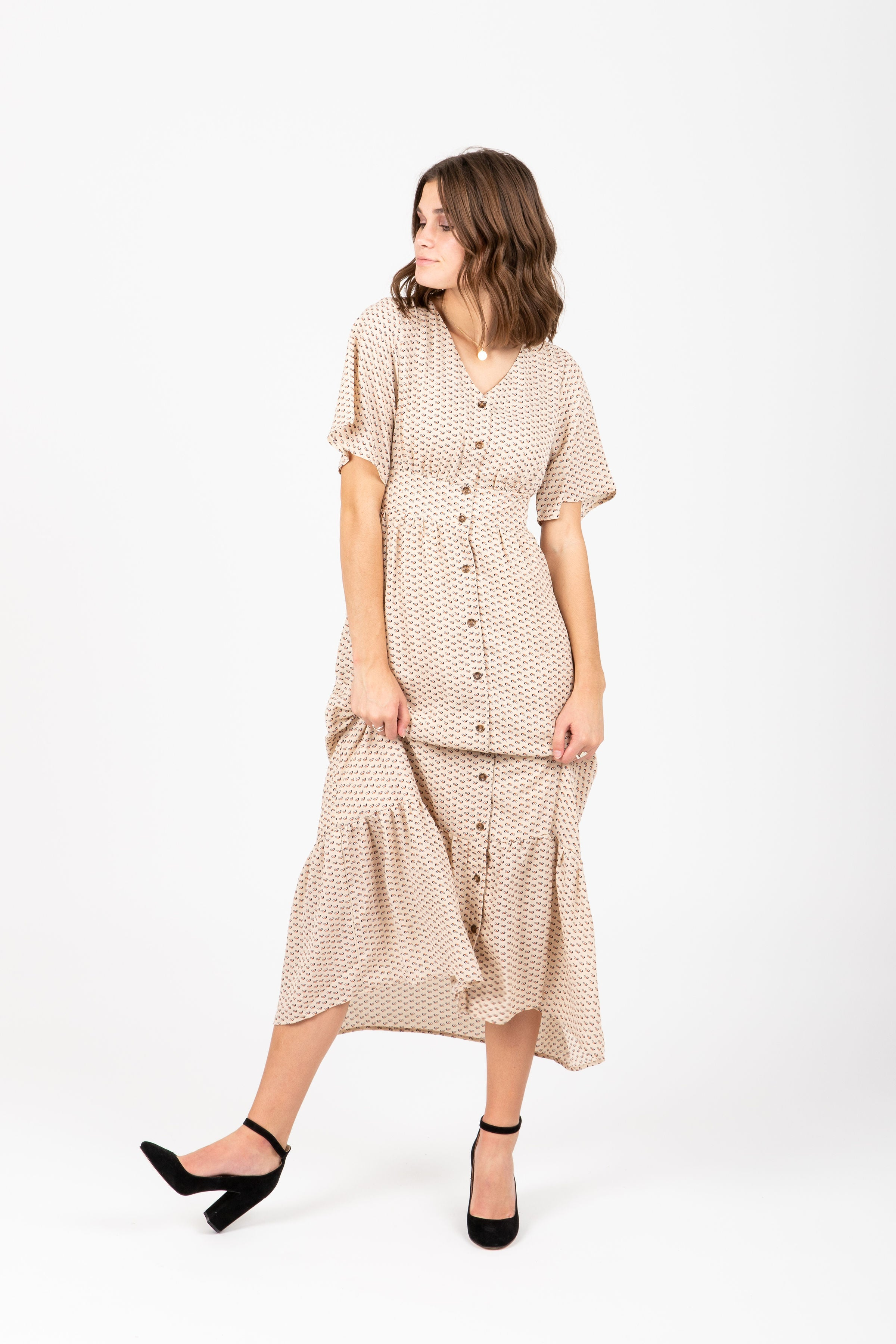 The Edison Patterned Ruffle Maxi Dress in Taupe