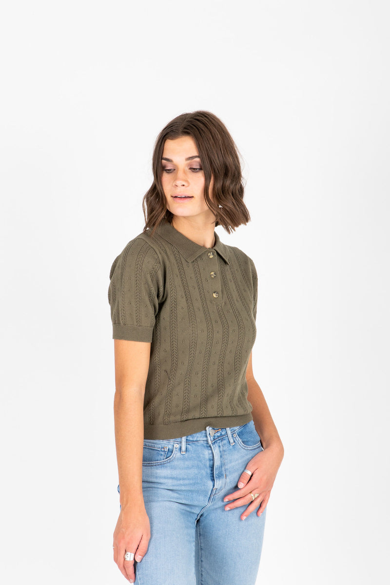 The Virtue Collared Knit in Olive