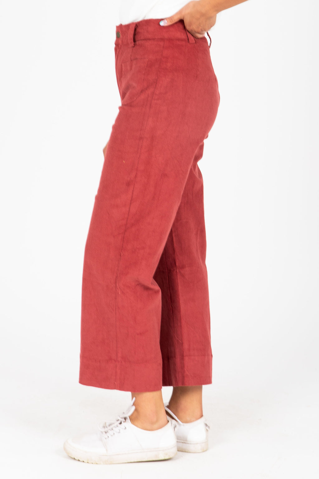 The Kyler Wide Leg Trouser in Berry, studio shoot; side view