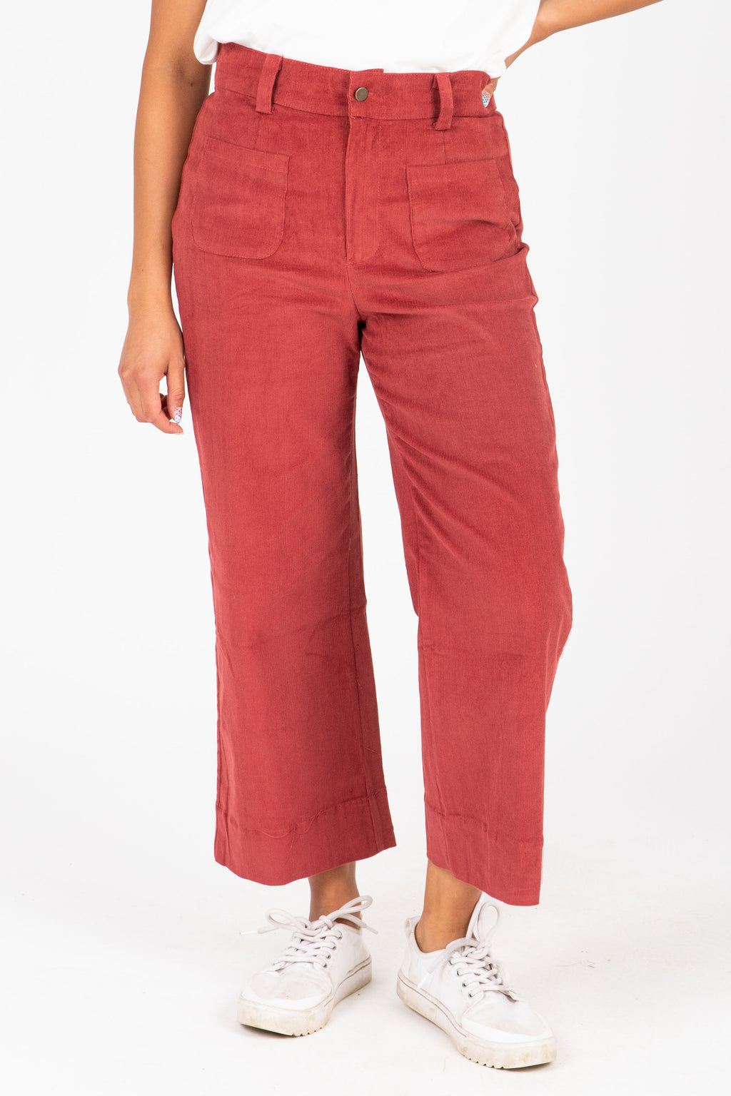 The Kyler Wide Leg Trouser in Berry, studio shoot; front view