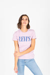 Levi's: Perfect Logo Tee in Serif Lavender Lave, studio shoot; front view
