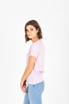 Levi's: Perfect Logo Tee in Serif Lavender Lave, studio shoot; side view