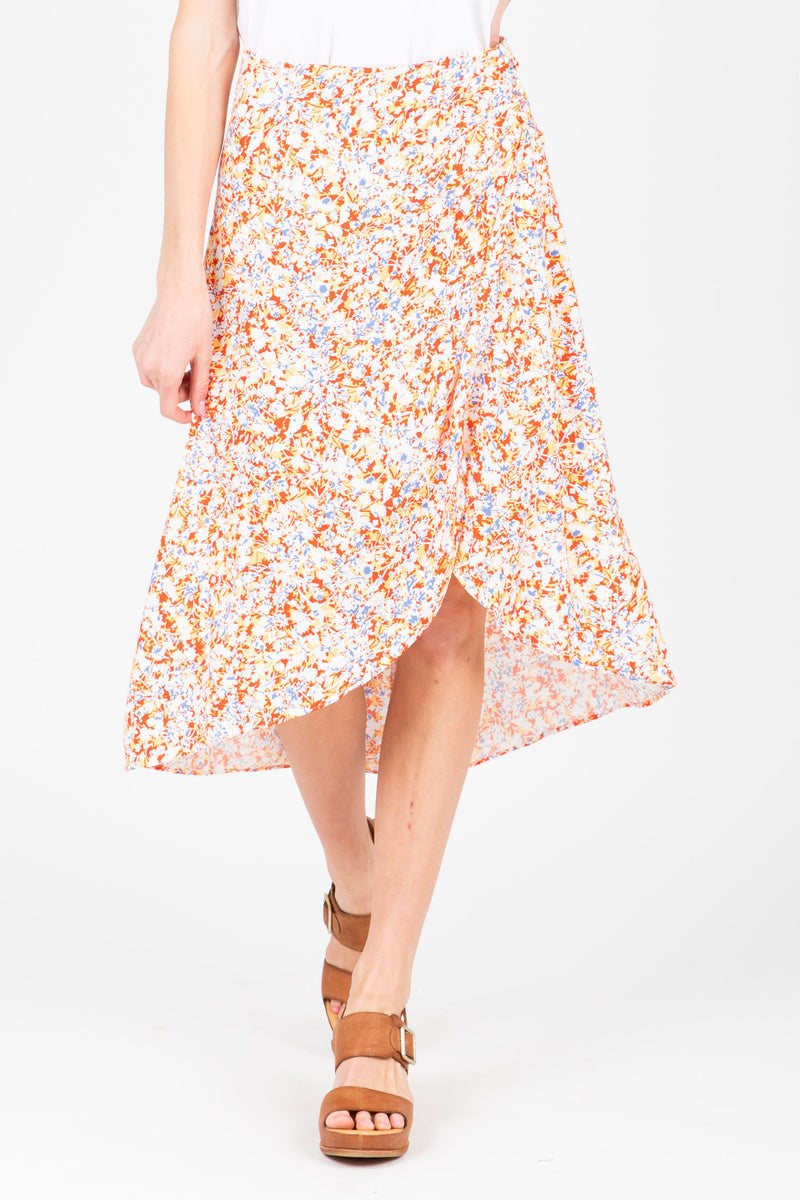 The Lillian Floral Wrap Skirt in Multi