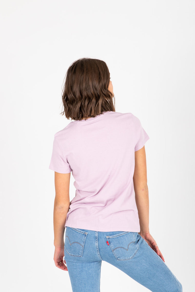 Levi's: Perfect Logo Tee in Serif Lavender Lave, studio shoot; back view