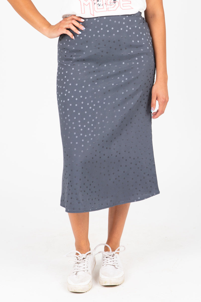 The Rylan Dot Silk Skirt in Blue, studio shoot; front view
