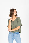 The Finley Tiered Peplum in Olive + Clay