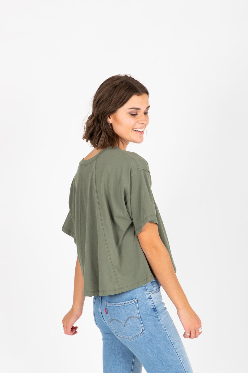 The Jay Button Tee in Olive, studio shot; side view