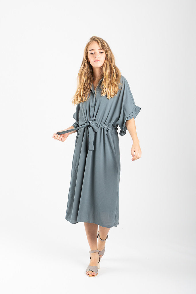 The Dwight Button Collared Dress in Slate