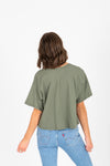 The Jay Button Tee in Olive, studio shot; back view