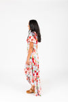 , The Kameron Floral Wrap Dress in Dusty Periwinkle, studio shoot; side view