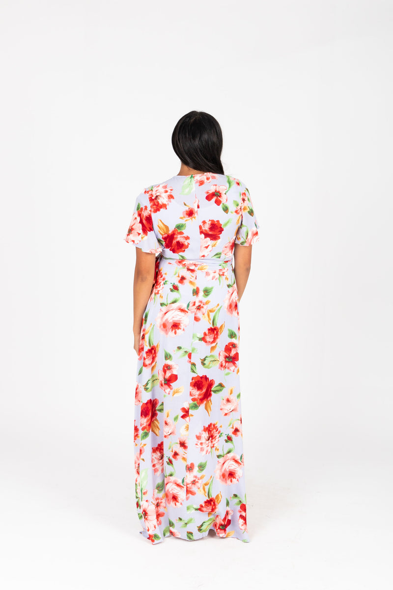 , The Kameron Floral Wrap Dress in Dusty Periwinkle, studio shoot; back view