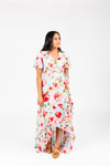 , The Kameron Floral Wrap Dress in Dusty Periwinkle, studio shoot; front view