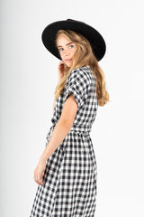 The Orion Check Dress in Black