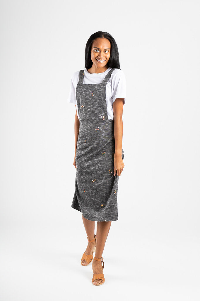 The Kenney Embroidered Jumper Dress in Charcoal