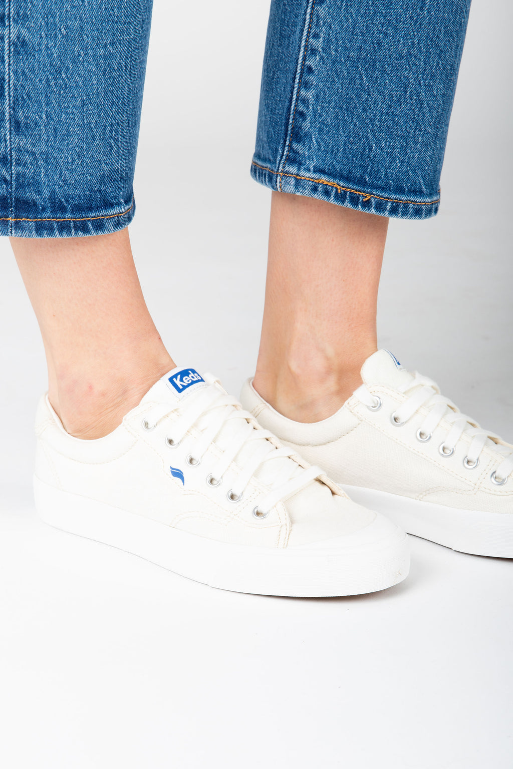 Keds: Crew Kick 75 Canvas in Off White, studio shoot; side view