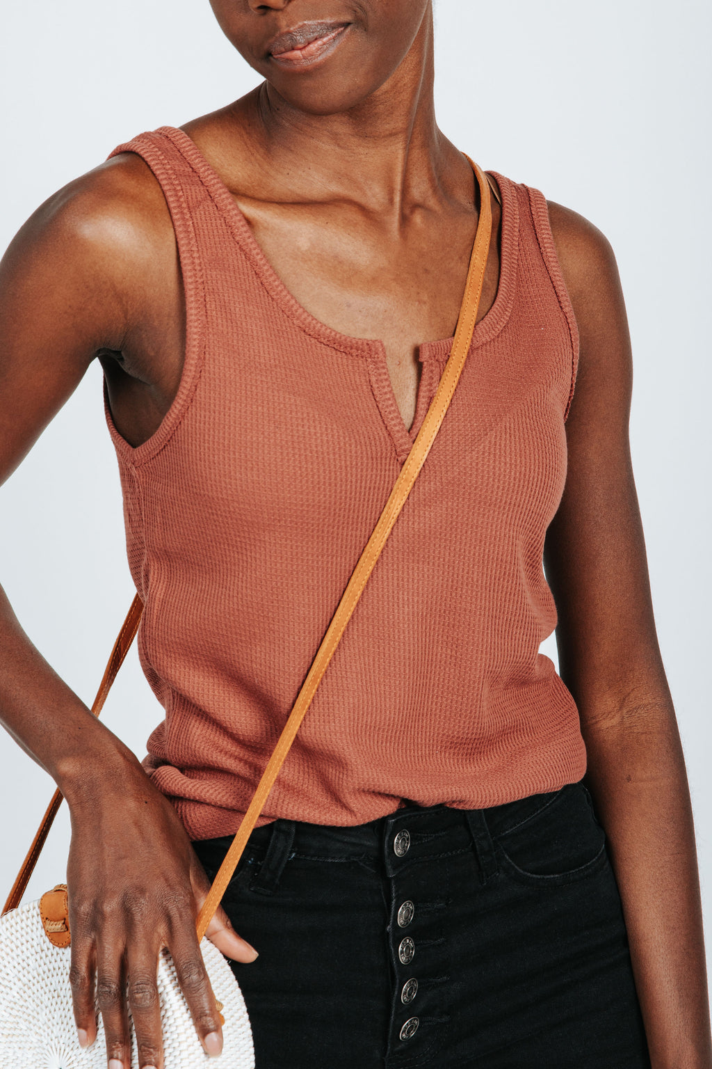 The Mae Waffle Knit Tank in Red, studio shot; front view