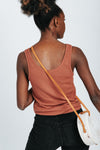 The Mae Waffle Knit Tank in Red, studio shot; back view