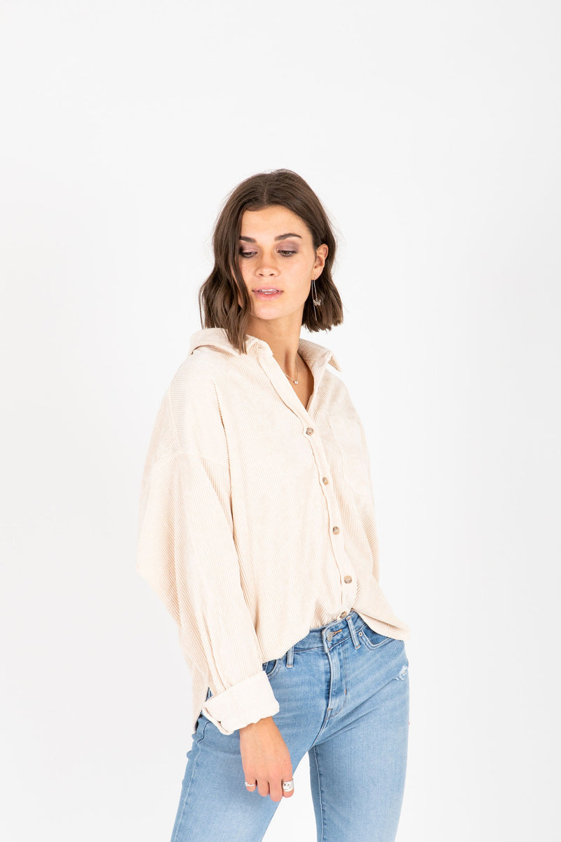 , The Ben Corduroy Button Up Shirt in Cream, studio shot; front view