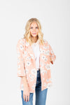 The Harper Floral Blazer in Blush, studio shoot; front view