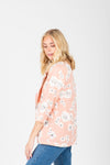 The Harper Floral Blazer in Blush, studio shoot; side view