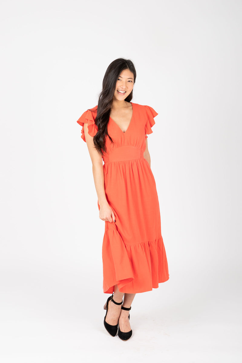 The Emmarie Ruffle Tiered Dress in Poppy, studio shoot; front view
