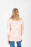 The Harper Floral Blazer in Blush, studio shoot; back view