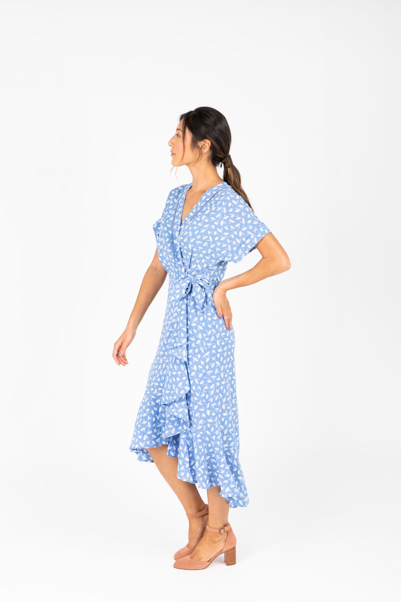 The Beckham Floral Wrap Dress in Periwinkle, studio shoot; side view