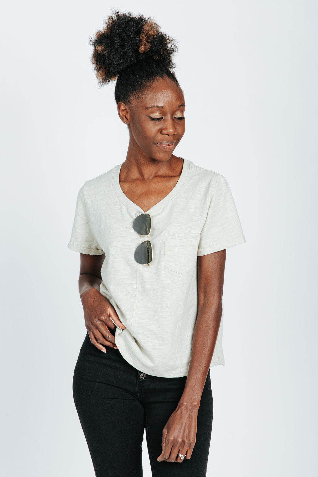 The Lindon Pocket Tee in Sage, studio shoot; front view