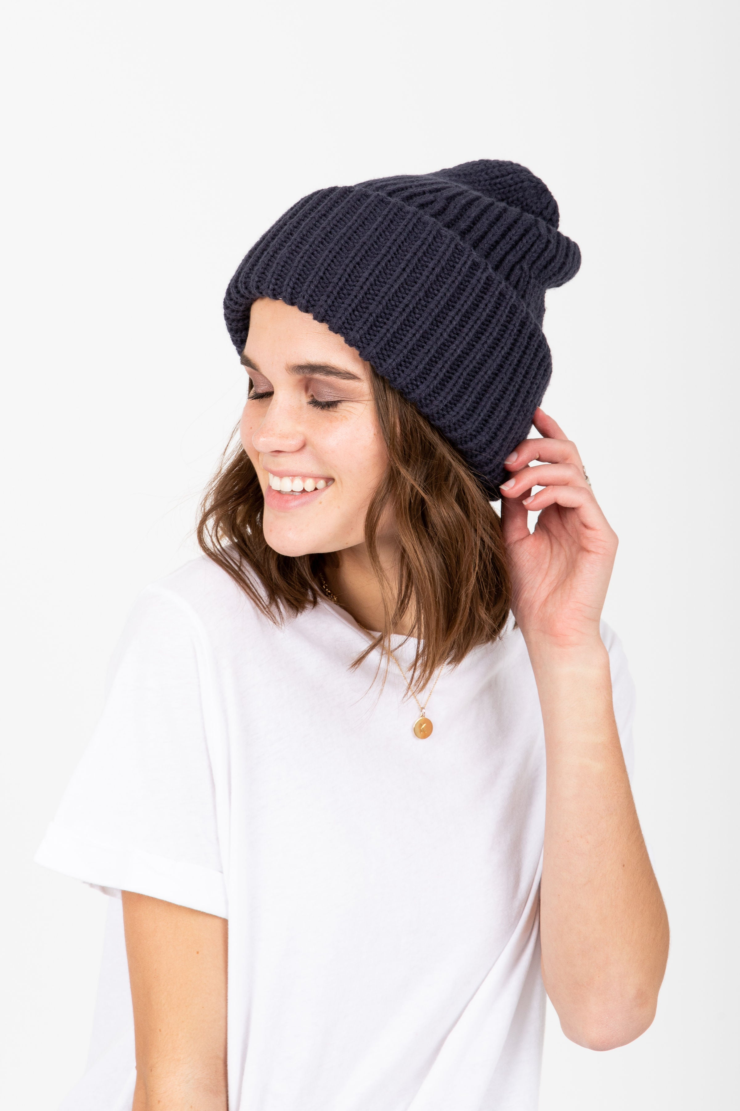 Ribbed Cuff Beanie in Navy