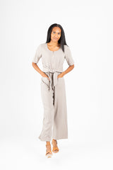 The Venice Tie Jumpsuit in Taupe
