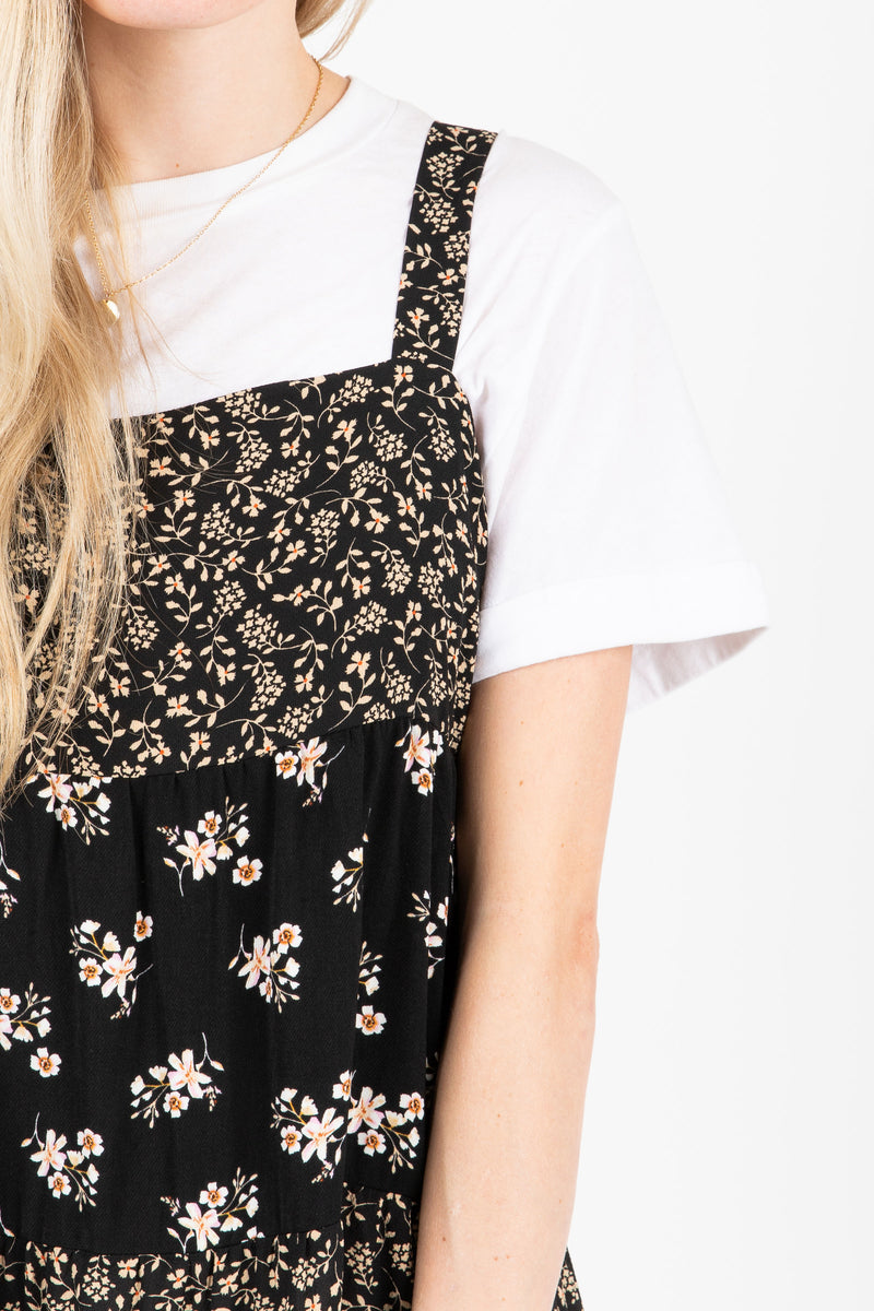The Walter Tiered Floral Maxi Dress in Black, studio shoot; closer up front view