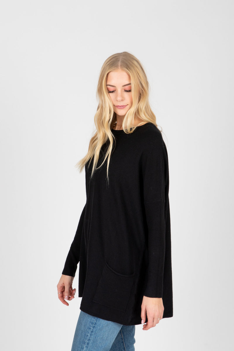 The Divina Casual Pocket Sweater in Black