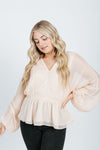 The Kane Balloon Sleeve Blouse in Champagne, studio shoot; front view