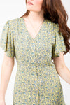 The Platte Floral Button Dress in Pale Yellow