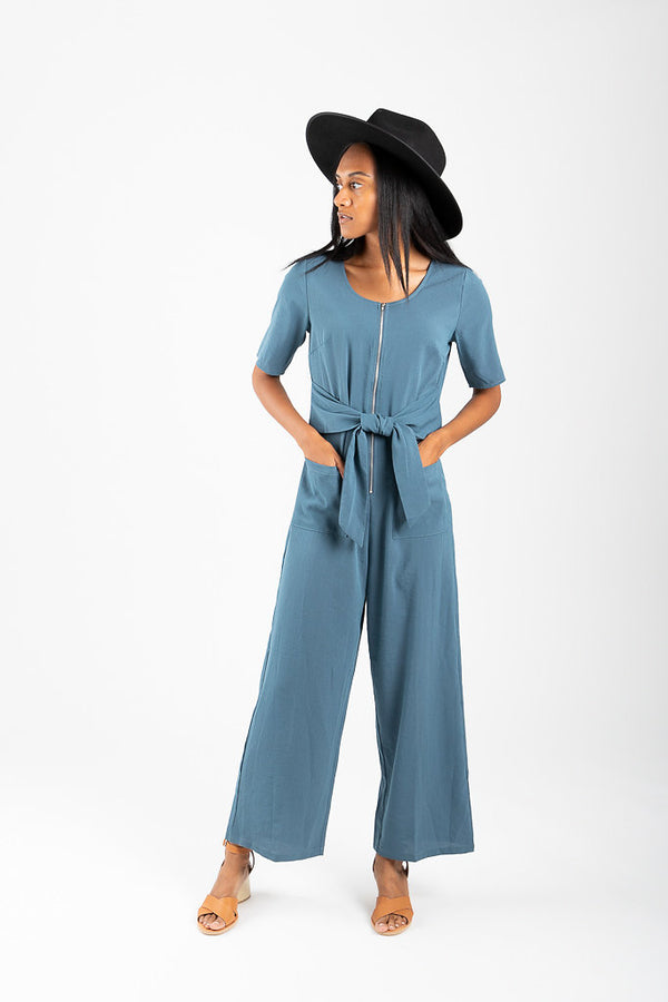 The Venice Tie Jumpsuit in Sea