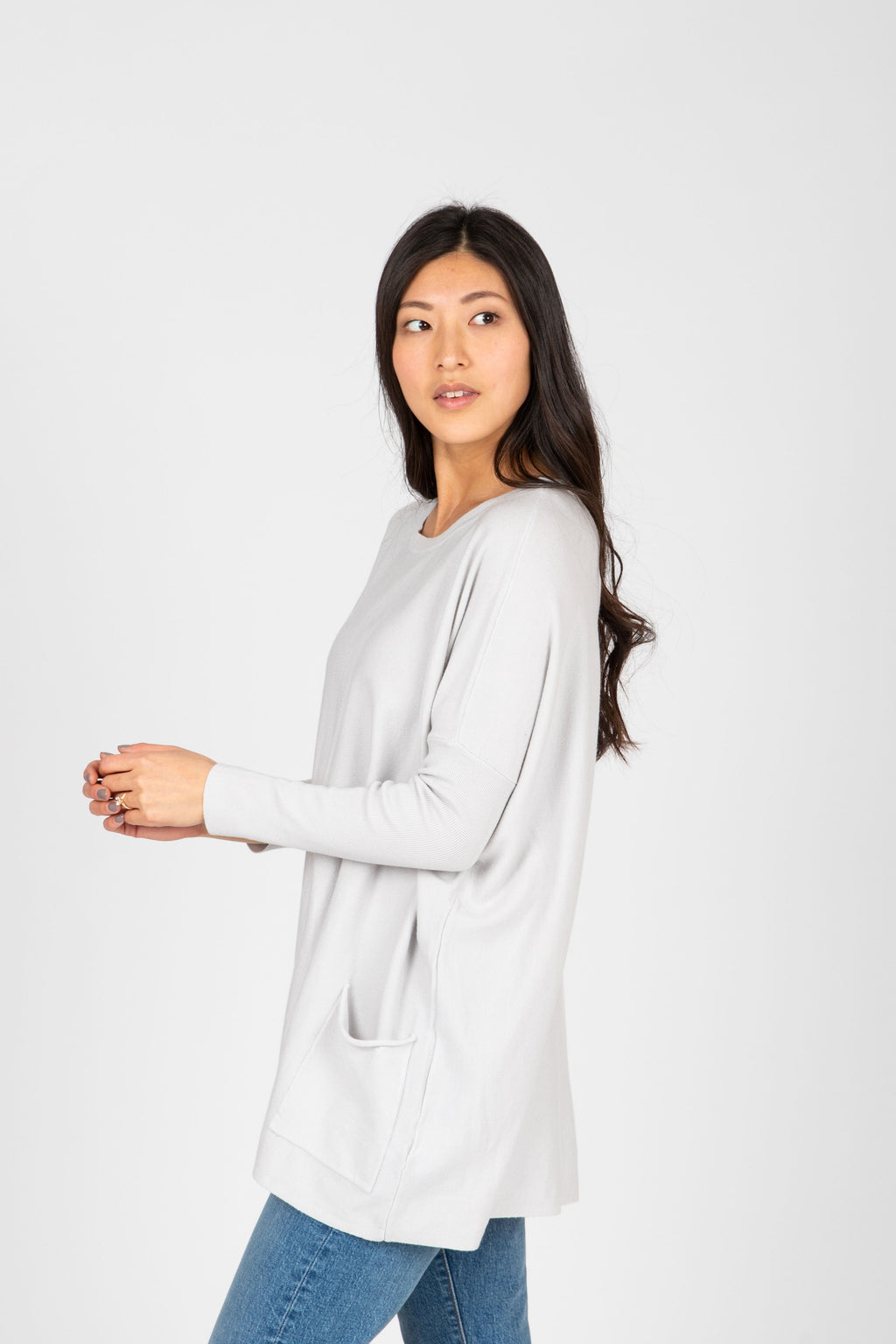 The Divina Casual Pocket Sweater in Cloud Grey