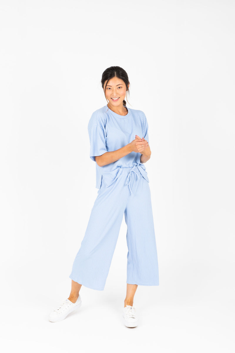 The Hanna Ribbed Casual Set in Light Periwinkle