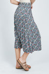 The Sebastian Floral Skirt in Black Lavender, studio shoot; side view
