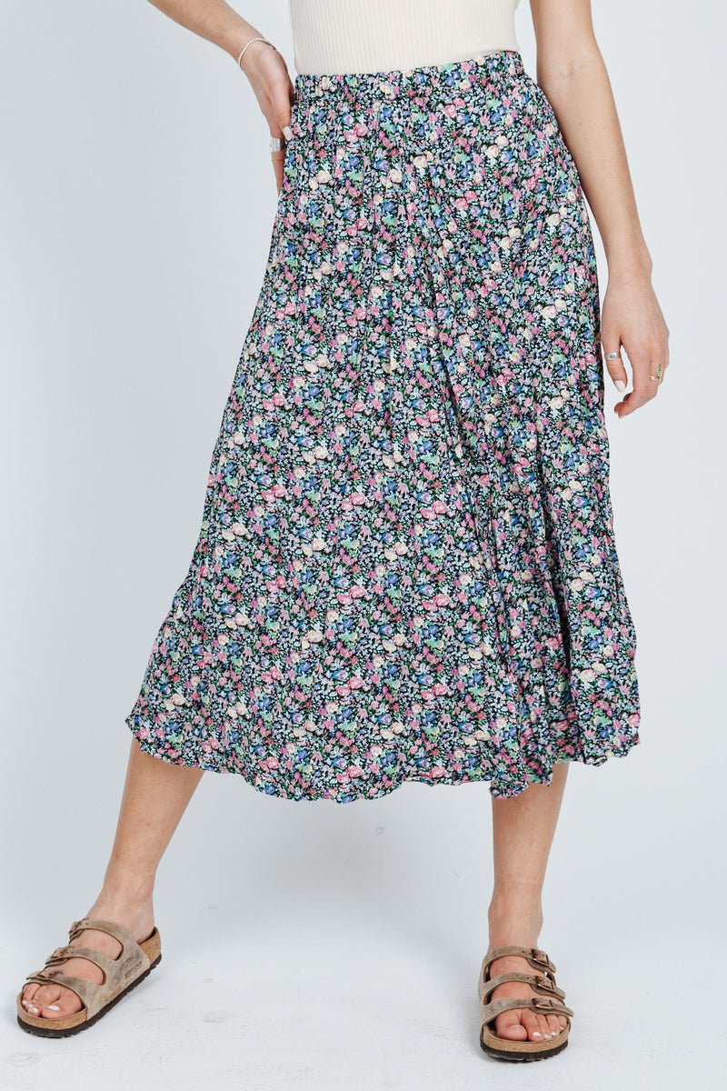 The Sebastian Floral Skirt in Black Lavender, studio shoot; front view